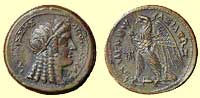 A coin of Cleopatra I (the first Cleopatra reigned 180-176 BC)